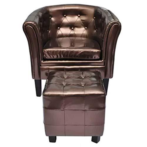 Tuduo Sessel mit Fußstütze aus Kunstleder, Höhe der Sitzfläche ab dem Boden, 35 cm, für Schlafzimmer, für Erwachsene, braun, für Luxus, Stil und Stil