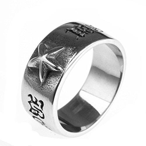 Blisfille Ring Silber Rhodiniert Ringe Herren Schwarz Silber Bar Punk Gravur Worte Stern Ringgröße 65 (20.7) Gothic Retro Vintage Memoir Ring Für Liebhaber