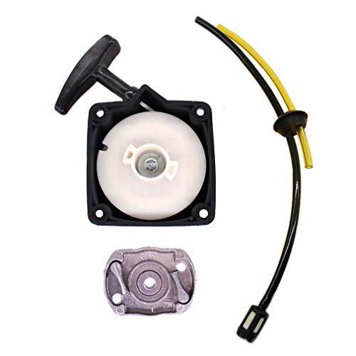 AISEN Seilzugstarter Starter Mitnehmerplatte Kit für Motorsense Rotfuchs Tarus Fuxtec Aram-Trade Stenson Timbertech BC52 BC520 mit Benzinschlauch Benzinfilter