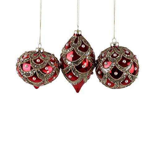 Voss Royal Pearls - Bolas de Cristal (3 Unidades, 10/15 cm), Color Rojo y Dorado