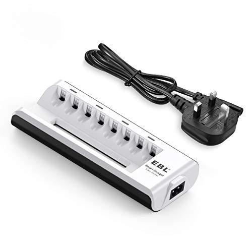 EBL 8 Bays AA AAA Battery Charger for Ni-MH Ni-CD Rechargeable Batteries, Smart Battery Charger