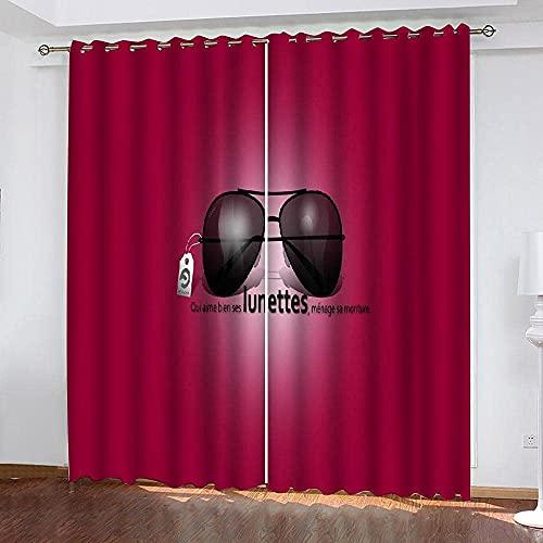 pgjremd Cortinas Opacas con Aislamiento Térmico Cortinas Impresas En 3D Rosa Rojo Gafas Negras Cortinas con Ojales Y Pliegues De Lápiz Ruido 250 (H) X150 (W) Cmx2 Q8613