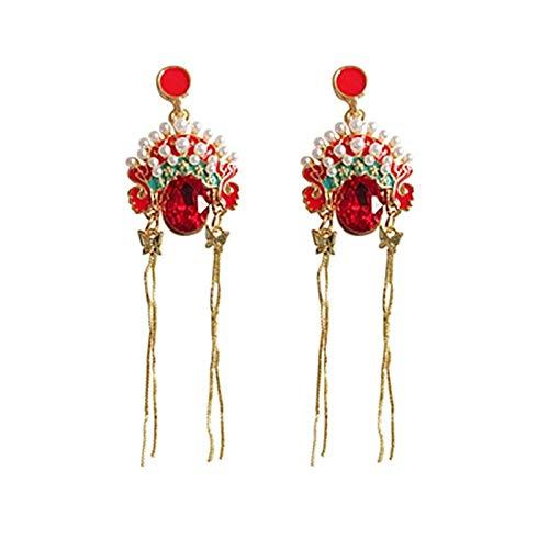earring Chinese Opera Earrings Human Face Peking Drama Earring Women Vintage Red Rhinestone Drop Earrings Art Jewelry