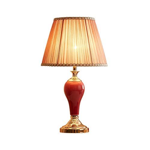 Lámpara de Cabecera Lámparas de mesa modernas Lámpara de mesita de noche Cerámica roja Cerámica Columna Tela Sombra para sala de estar Dormitorio familiar Lampara mesita noche ( Color : A )