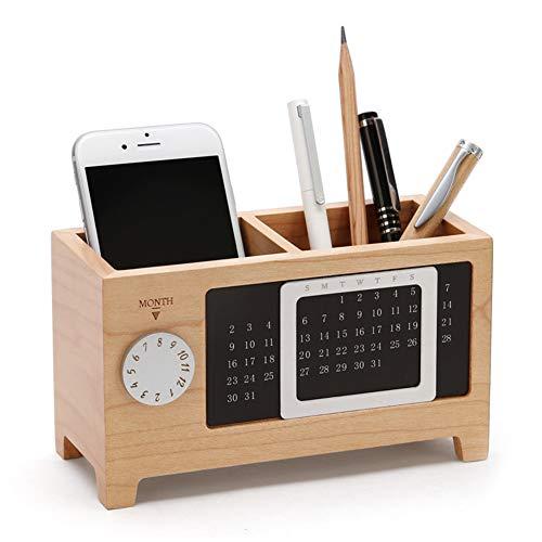 Portalápices, suministros de oficina de madera, organizador de escritorio y soporte para lápices, caja de almacenamiento de artículos de papelería con calendario, lapicero