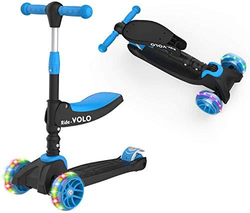 キックスクーター 子供用 RideVOLO キックボード 2way三輪車 三段階高さ調整 62/74/81cm 光るLEDタイヤ 折り畳み式 方向変換 耐荷重50kg アウトドアに適用 おもちゃ 安定 ギフトに最適 ブラック