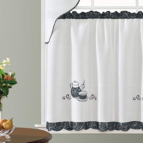 GOHD Golden Ocean Home Decor Coffee Enjoyment. 3pcs Kitchen Cafe Curtain Set. Coffee Pot and Cup Applique Embroidery with Paisley Print Fabric. (Swag and 36 inches Tiers Set)