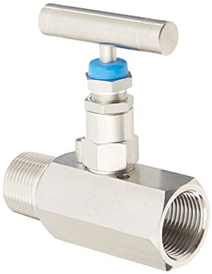 """PIC Gauge HV-SS-3/4-GS-180-MXF 316 Stainless Steel Hex Body Straight Needle Valve with Gas Service Seat, 3/4"""" Male NPT x 3/4"""" Female NPT Connection Size, 6,000 psi Pressure from PIC Gauges"""