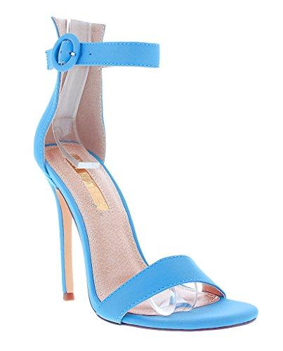 Liliana Tisha14 Open Peep Toe Stiletto High Heel Ankle Strap Pump Sandal Shoe,Blue,6