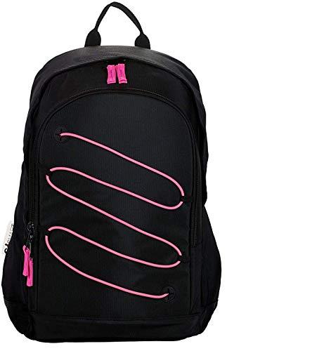 Mochila GoSmart negra fluorescente rosa redonda original nueva colección + cable type-c...