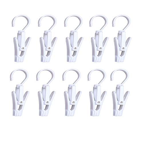 Wenplus 10 PCS Super Strong Plastic Swivel Hanging Hooks Home Swivel Laundry Clips Curtain Clips Clothes Pins Beach Towel Clips 43inch White