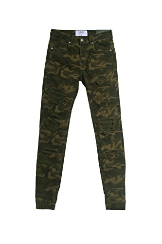 Sixth June Herren Skinny Jeans Destroyed Camou Camouflage W 30