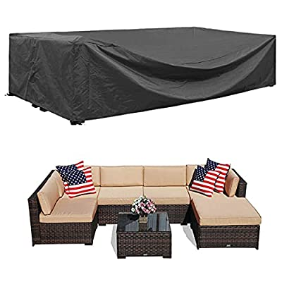 """Patio Furniture Sectional Set Cover Waterproof Outdoor Sofa Set Covers Patio Conversation Set Cover Outdoor Table and Chair Set Covers Water Resistant Large 98"""" L x 78"""" W x 30"""" H"""