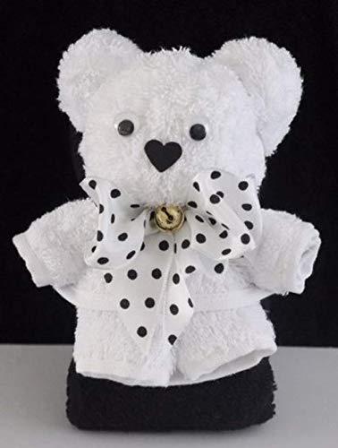 Teddybär/Handtuch-Tier in weiß auf schwarz, Handtuchfigur, Schleife mit schwarzen Punkten