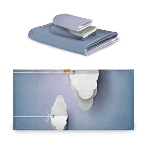 Juego de toallas de 3 piezas, Blue Sky Origami Clouds Art Style Juego de toallas de baño, 1 toalla de baño, 1 toallita, 1 toalla de mano, multifunción suave para el hogar, la cocina, el hotel, el gim