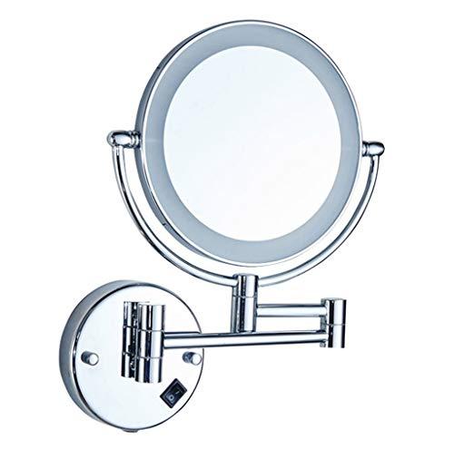 Wandspiegel -mit Led-Licht Runde Make-Up Eitelkeit Rasur Badezimmerspiegel Silberrahmen USB-Lade 360 Grad Drehen Spiegel (20 cm)