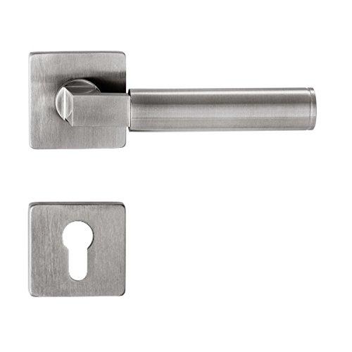 Rosettengarnitur Bauhaus Q | PZ (Profilzylinder) | V2A Edelstahl matt | nach Gropius & Meyer 1922 /1923