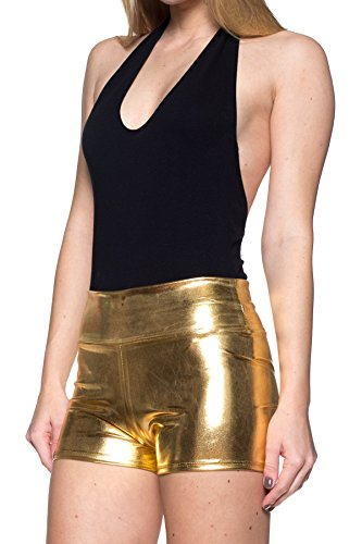Women's J2 Love Faux Leather Shorts, Large, Gold