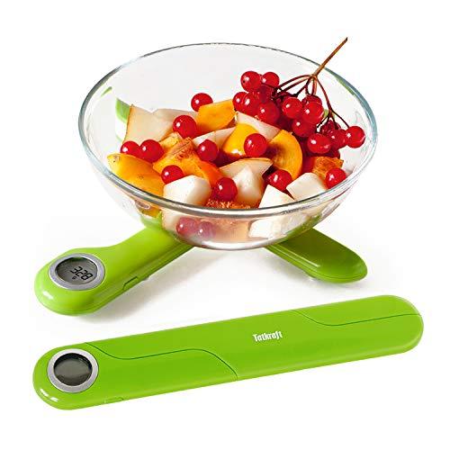 Tatkraft Compact – Balance de Cuisine Electronique Pliante 5 kg – Fonction Tare – Précision 1 gramme - Taille Poche - Vert