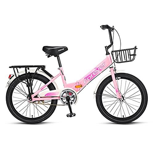 Bicicleta Plegable para Niños De 20 Pulgadas, con Canasta Frontal De Metal De Almacenamiento, para Que Los Niños Y Niñas Vayan A La Escuela Al Aire Libre