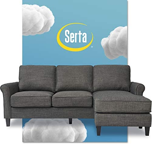 Best Serta Harmon Reversible Sectional Sofa Living Room, Modern L-Shaped 3 Seat Fabric Couch, Rolled Arm,