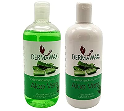 Waxing Pre- and Post-Treatment Set. Pre-Treatment Lotion with Aloe Vera and After-Treatment Milk with Aloe Vera from Dermastil KOSMETIK · WELLNESS · FUSS- HANDPFLEGE