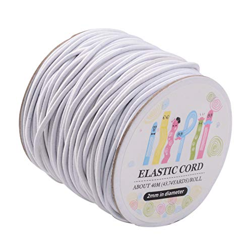 Pandahall 43yards/Roll 2mm White Stretchy Elastic Cord Flexible Elastic Beading Thread String for DIY Jewelry Making Hanging Crafts Sewing Projects