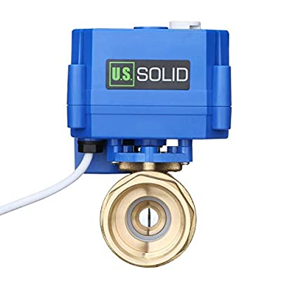 """Motorized Ball Valve- 1/2"""" Brass Ball Valve with Manual Function, Full Port, 9-24V AC/DC and 2 Wire Auto Return Setup by U.S. Solid from U.S. Solid"""