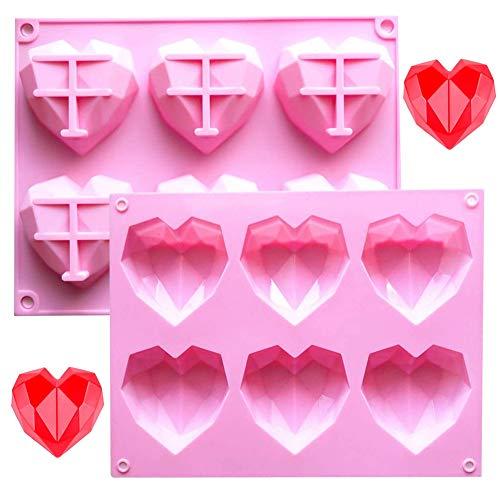 SUNSK Silikonform Backform Herz Kuchenform Muffinform mit 12 Hohlräume Eiswürfel Kuchen Schokolade Gelee Seife Cupcake Formen 2 Stück