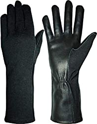 commercial Nomex Flame Retardant Leather Military Pilot Gloves (8 (Long), Black) military flight gloves