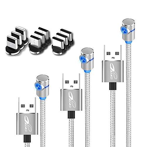 DAIAD L字型 マグネット 充電ケーブル 短い 30cm 1m 2m 3本セット microUSB Type-C Lightning 三端子対応9個付属 楽々充電 ナイロン LED 防塵 一本多役の充電ケーブルセット プレゼントやギフトに (シルバー)