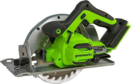 Sierra circular profesional Greenworks con batería de 24 V, con luz LED para cortar madera y hojas (64 mm de profundidad de corte de 4500 RPM, bloqueo del husillo sin batería ni cargador)