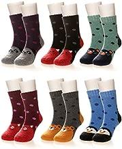 Kids Girls Boys Winter Wool Socks Super Warm Soft Thick Childrens Cute Animal Thermal Toddler Thermal Crew Casual Socks (6 Pairs Animal, 4-7X)