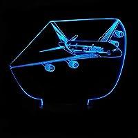 YPDWYJL 3D子供用軽飛行機ビジョンLEDナイトライト寝室の雰囲気ライトベッドサイドライト16種類の色が変わるホリデーギフト