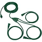 1 to 3 Extension Cord Splitter - 28 Foot Green Power Squid - 16/3 SJTW Outdoor Outlet & Plug Splitter Cable