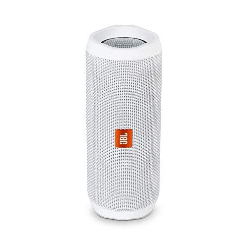 JBL Flip 4 - Altavoz inalámbrico portátil con Bluetooth, parlante resistente al agua (IPX7), JBL Connect+, hasta 12 h de reproducción con sonido de alta fidelidad, blanco