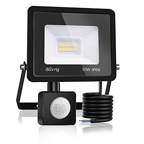 Blivrig Foco LED Exterior,10W Foco LED con Sensor de Movimiento,1000LM Super Brillante Impermeable IP66 Proyector Foco Iluminación de Seguridad Blanco Frío para Garaje (Blanco frio, 10W)