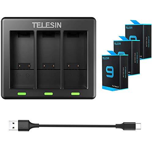 TELESIN 3 Akkus mit 3-Kanal-Ladegerät Kompatibel mit GoPro Hero 9 Black,Triple Batterieladegerät Set mit Typ C Lade-USB für Hero 9 Schwarz. (1 Ladegerät+ 3 x Batterien)