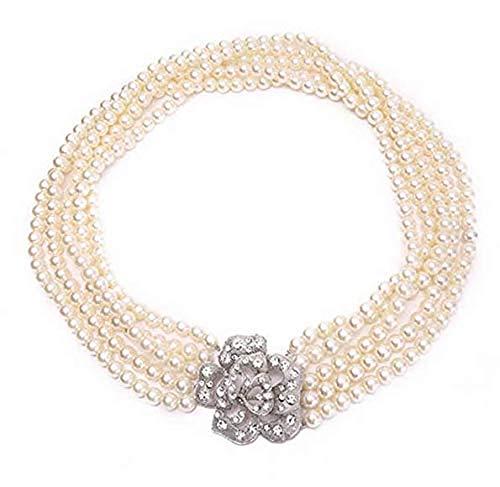 Utopiat Strap Flapper Disfraz Collar de perlas Mujer inspirado en el estilo Audrey Hepburn