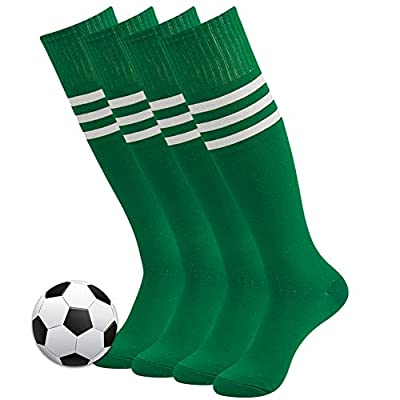 Soccer Socks, 3street Unisex Youth Warm Thick Cushioned Sport Athletic Knee-High Long Tube Soccer Baseball Football Socks for Boys St.Patrick Day Gift Green 4 Pairs