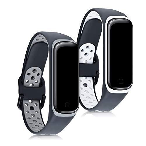 kwmobile 2X Brazalete Compatible con Samsung Galaxy Fit 2 - Pulsera de Silicona y TPU Negro/Gris/Negro/Blanco sin Fitness Tracker