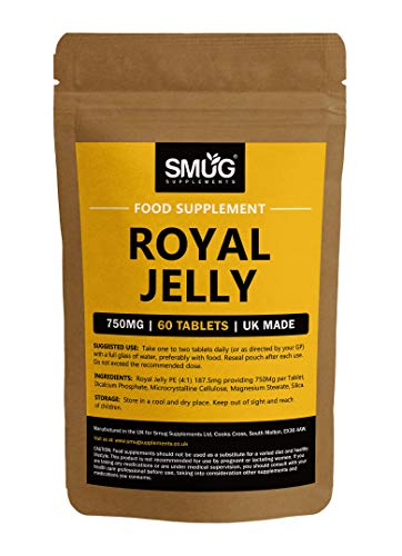 Royal Jelly 750mg Tablets by SMUG Supplements | Boosts Energy Levels & Helps Fight Hay Fever (60 Tablets)