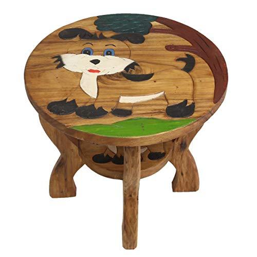 Oriental Galerie Kindertisch Spieltisch für Kinder Hund ca. 50cm Durchmesser & 45cm Höhe Natur Braun Limboholz Holz