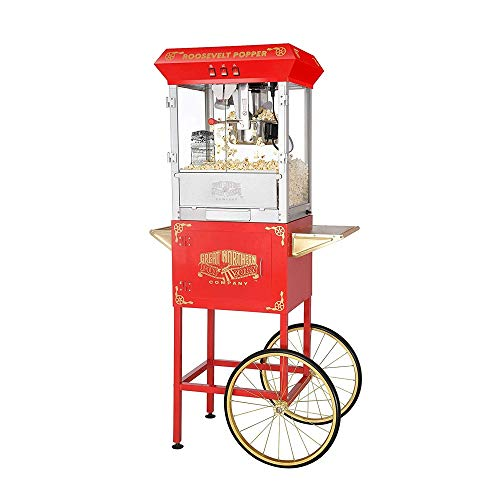 For Sale! 8 Ounce Antique Popcorn Popper Machine with Trolley, Red