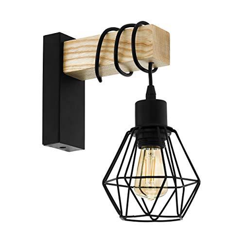 EGLO Wandlampe Townshend 5, 1 flammige Vintage Wandleuchte im Industrial Design, Retro Lampe aus Stahl und Holz, Farbe: Schwarz, braun, Fassung: E27