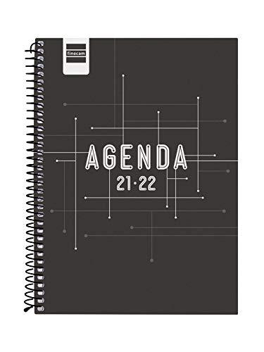 Finocam Agenda 2021 2022 Semana vista apaisada Septiembre 2021, Junio 2022 10 meses y Julio/Agosto resumidos 4º, 155x212 Cool Negro Español