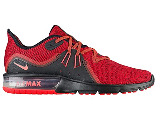 Nike Air Max Sequent 3 Black Total Crimson Red Running Shoes 921694-066 Mens Size 12.5