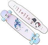YLLN Skateboards, 42 Pulgadas Pro Complete Skateboard, Hard Rock Maple Superficie prensada en frío Monopatines cóncavos de Doble Patada, Tabla de Skate para Deportes Extremos