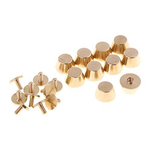 F Fityle 10 Bodennägel Rund Nieten Gürtelschrauben für Handtaschen, Taschenfüße und Lederbearbeitung, Gold
