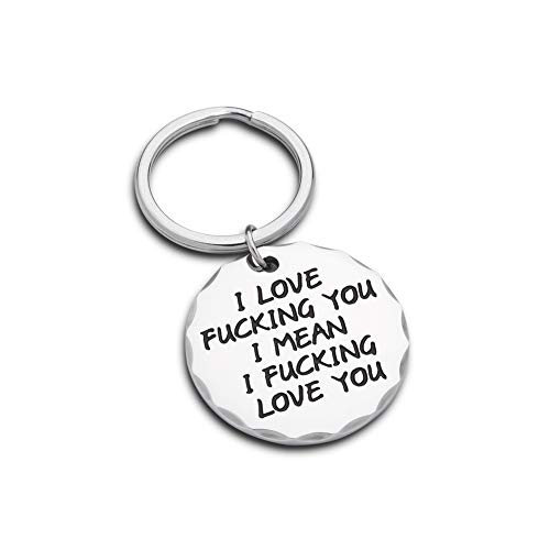 Couple Funny Keychain Gifts for Boyfriend Husband Gift from Girlfriend Wife him her i Love You i Mean i Love You Birthday Anniversary Key Ring Tag